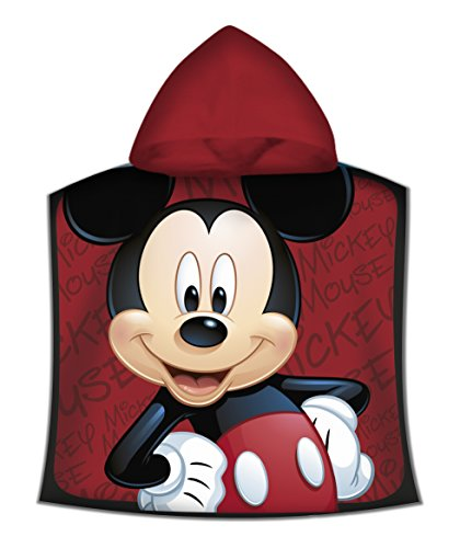 Kids - Poncho Toalla, Diseño Mickey, color Rojo, 50 x 100 cm...