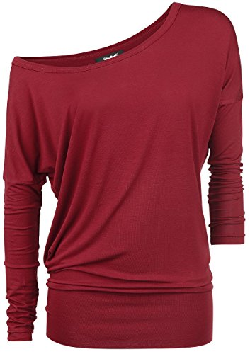 Black Premium by EMP Ladies Tee Manica lunga donna rosso 5XL