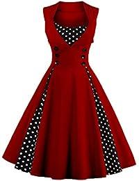 Axoe Damen 50er Jahre Cocktailkleid Rockabilly Elegantes Faltenrock  Festliches Partykleider Vintage Kleid… 1a31775ca0