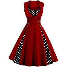 d51b645c6f686 Axoe Robe Femmes Vintage des Années 50 Elégantes avec à Pois Rockabilly
