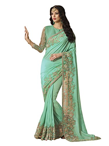 Kanchnar Women's Shimmer,Net Saree (532S4207,Blue)