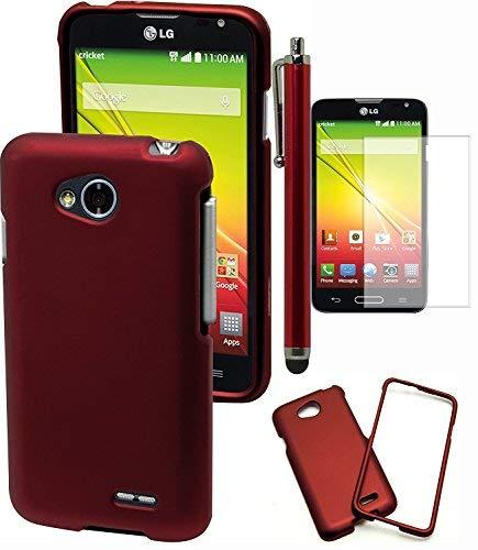 Optimus L70Handy Case, Bastex Heavy Duty Snap auf Fall-Hard Rot gummierte Schutzhülle Zum Aufstecken für LG Optimus l70includes Displayschutzfolie und Stylus