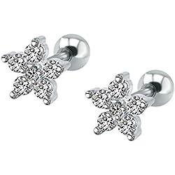ZeSen Jewelry 16g mousseux Zircon en acier inoxydable Boucles d'oreilles Tragus Helix Conch Cartilage Perçant oreille (2) Fleur de Prunier