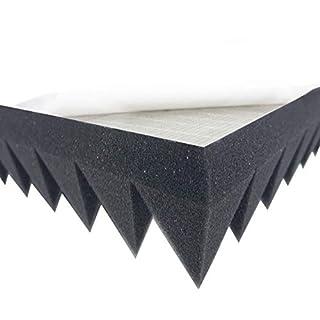Akustikpur Akustikschaumstoff Pyramidenschaumstoff SELBSTKLEBEND - Schalldämmmatten zur effektiven Akustik Dämmung, ca. 49 cm x 49 cm x 7 cm