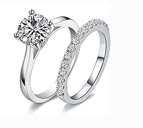 RMS5 High Quality 1.5 Carat Princess Cut Simulated Diamond Designer Ring Band Set 925 Silver