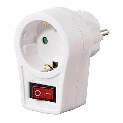 Hama Adapterstecker mit Schalter (Schutzkontakt Zwischenstecker, bis 3500 Watt, Kinderschutz) weiß
