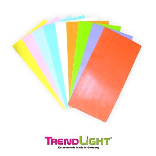 TrendLight 860729 Wachsplatten 10 Stück, 200 x 100 mm, pastell sortiert
