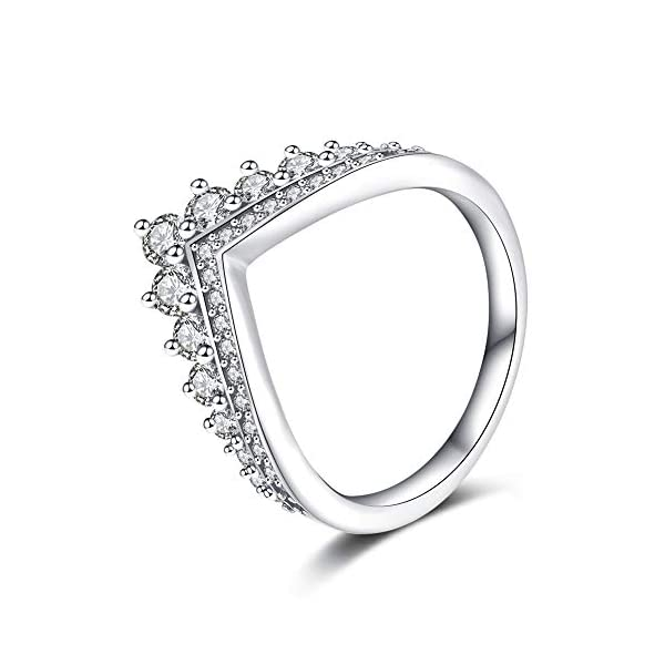 Rhodium Plated Tiara Design CZ Ring 925 Sterling Silver Unique Girly Different