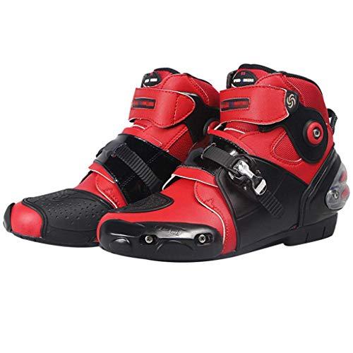 Sooiy Moto Stivali in Pelle Impermeabile di Protezione Motocross Stivali da Strada Crash Protezione Zip Scarpe in Omaggio,Rosso,44