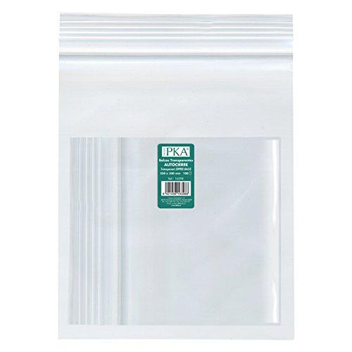 PKA 16398-Confezione da 100 sacchetti di plastica con autocierre, 250 x 180 mm