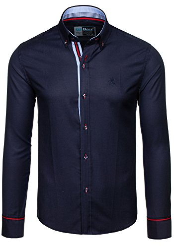 BOLF Herren Langarm Herrenhemd Figurbetont Freizeit Slim Casual 5801 Dunkelblau