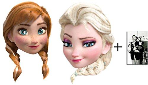 Frozen (Die Eiskönigin) Anna und Elsa Karte Partei Gesichtsmasken (Maske) Doppelpackung - Enthält 6X4 (15X10Cm) ()