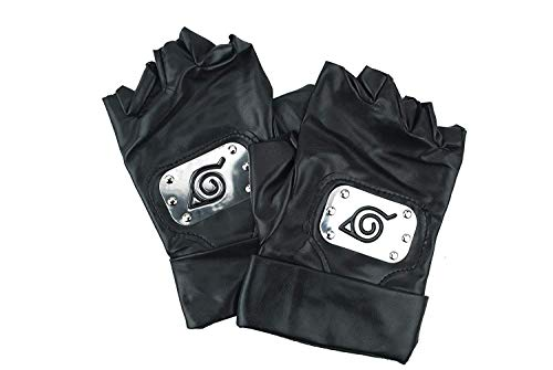 Cosplay Kakashi Kostüm Hatake - Handschuhe von Naruto Kakashi Hatake Konoha Cosplay Kostüm, Black Leather Gloves Konoha Schwarze Lederhandschuhe