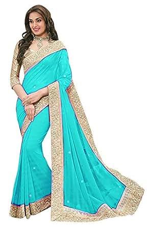 Floral trendz Women's Chiffon Saree With Blouse Piece (Priya4 Skyblue)