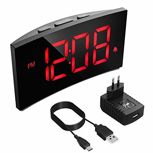 """PICTEK Digitaler Wecker, Digitaluhr, Reisewecker,5\"""" LED-Display, Randlos Kurve, Dimmer, Snooze, 12/24 Stundenanzeige, 3 Alarmtöne, Naturgeräusche, USB-Stromanschluss -Rot (mit Adapter)"""