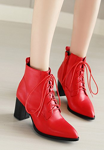 Aisun Femme Mode Bout Pointu Cheville Chunky Bottines Rouge