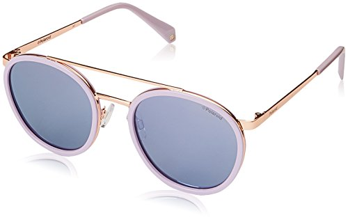 Polaroid Mirrored Round Women's Sunglasses - (PLD 6032/S 35J 53MF|53|Blue Color) image