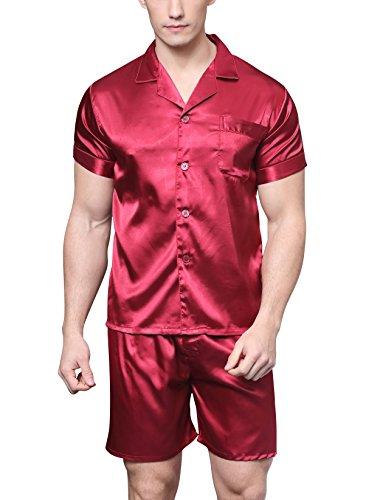 Herren Kurz Satin Schlafanzug Kurzarm Pyjama Set mit Shorts (Burgund, XL) (Hosen Satin Seide)