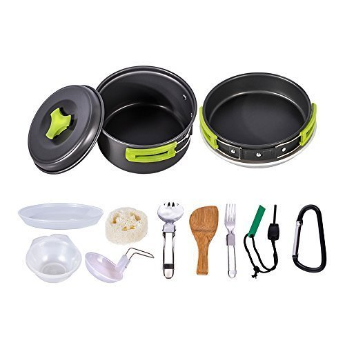 HUKOER Camping Cookware Kit Backpacking Gear & Hiking Outdoors Cooking Equipment Ultralight Cooking Set with Compact & Durable Pot Pan Bowls Folding Spork Nylon Bag