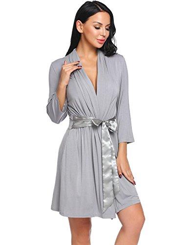 Damen V ausschnitt Morgenmantel Kimono Nachtwäsche baumwolle ...