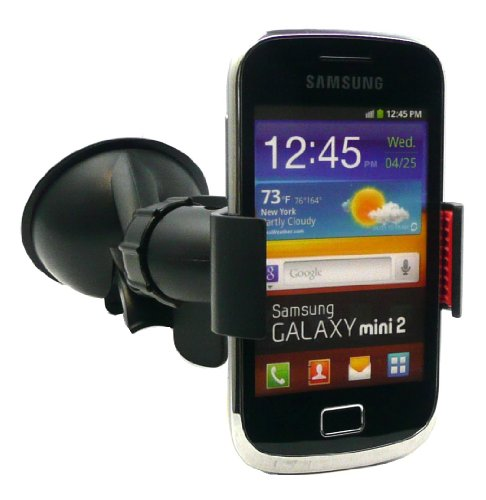 Emartbuy  Universal Artiglio Clip 360 Gradi Cruscotto/Parabrezza Car Holder Aspirazione Monte Nero Adatto Per Samsung Galaxy Mini 2 S6500