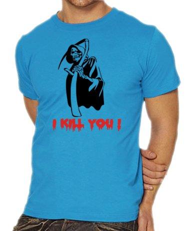 Halloween Rock Kostüm Schere Papier (Touchlines Unisex/Herren T-Shirt Sensemann - I Kill you !, skyblue, XL,)