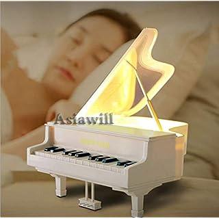 Asiawill Creative Piano Touch Sensor Musikbox Lampe USB wiederaufladbar Touch-Panel Energiesparlampe Dimmbar Licht LED Tischlampe Nachtlicht weiß