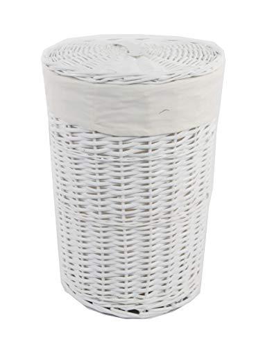 DVier VWWK-08WRd-a Wäschekorb Korb Weide Weiß rund mit Bezug, Deckel,Handgriffe,1 Einheiten, Durchmesser 32cm, Höhe 47cm