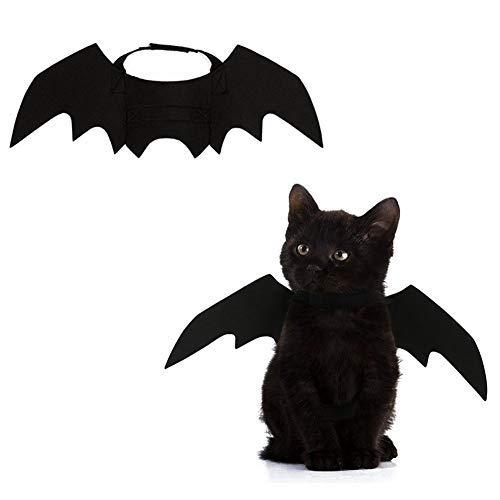 Albabara Halloween-Kostüm für Hunde und Katzen, verstellbar, mit Fledermausflügeln, Schwarz (Hollaween Kostüm Für)
