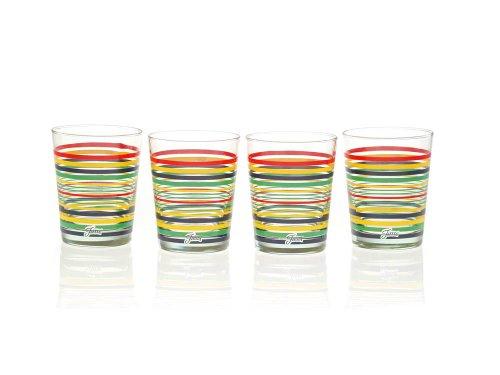 Fiesta Glaswaren, 15-ounce konisch Glas (Double Old Fashion), 4Stück Multi-Color Stripe Core 15 Oz Double Old Fashioned