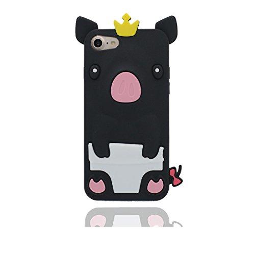 """iPhone 7 Hülle, iPhone 7 (4,7 """") Schutzhülle Soft Flexible TPU zurück Hülle für iPhone 7 (4.7"""") [Stoßdämpfende, Kratzfestes] Kronen-Schwein, iPhone 7 4.7"""" case schwarz"""