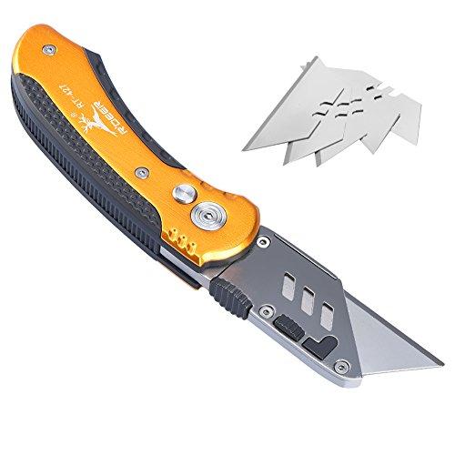 Orange-tool-box (TOOLTOO Heavy-Duty Folding Utility Messer Scharfe Box Cutter Messer Handy Pocket Utility Messer mit Schnell-wechsel, Lock-Back-Design und 5 kostenlose Ersatz-Klingen, leichte Aluminium-Körper)