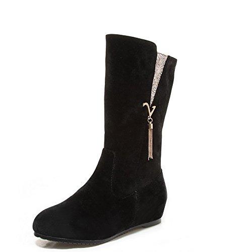 AgooLar Damen Mattglasbirne Gemischte Farbe Ziehen auf Rund Zehe Niedriger Absatz Stiefel, Grau, 36