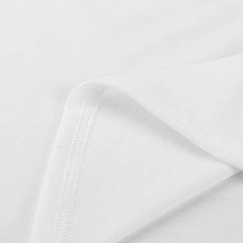 T-shirt Femme,Jimma Lettre de fleur imprimée femmes été coton Chemise Casual Tops Blouse florale Blanc