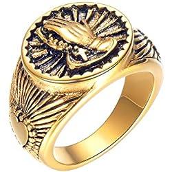 FaithHeart Estampa de Corazón y Mano de Oración Acero Inoxidable Dorado Anillo Talla 08 Joyería Milagrosa para Hombre y Mujer