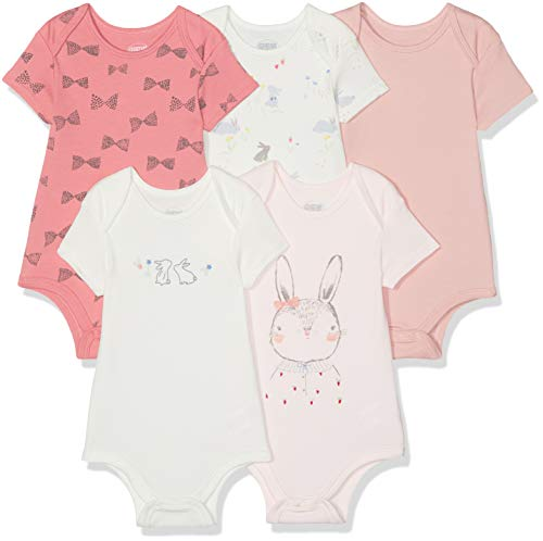 Mamas and Papas Baby-Mädchen 5pk Bunny Bodysuits Body, Pink (Coral Sgnl), 3-6 Monate (5erPack) -