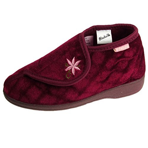 Donna Pantofola A Stivale Dunlop Celia Onna Scarpe A Strappo Morbido Slip On Calzature - Bordeaux, Donna, 8 UK / 41 EU