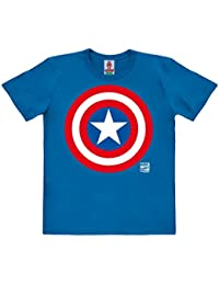 Marvel Comics - Superhéroe - Capitán América Logo Camiseta 100% algodón ecológico para niño - Azul - Diseño original con licencia - LOGOSHIRT