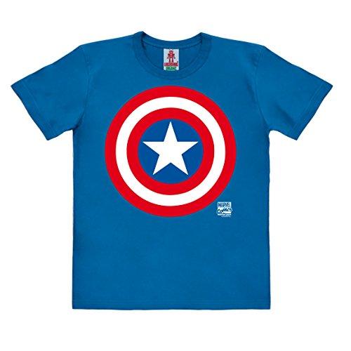 Marvel Comics - Superheld - Captain America Logo Kinder Organic T-Shirt - blau - Bio Baumwolle - organic cotton - Lizenziertes Originaldesign - LOGOSHIRT , Größe 128, 7-8 Jahre (Kinder-superhelden-kleidung)
