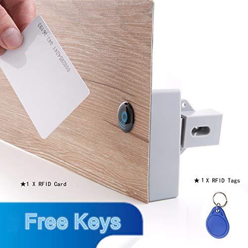 Minasan ABS Matériau universel intelligent pour plaque à induction Sans trou Sans serrure à piles, serrure de meuble RFID avec clé RFID