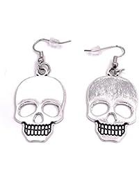 ea09b62546c4 H-Customs Cráneo cráneo esqueleto pendientes pendientes colgante de metal  plateado