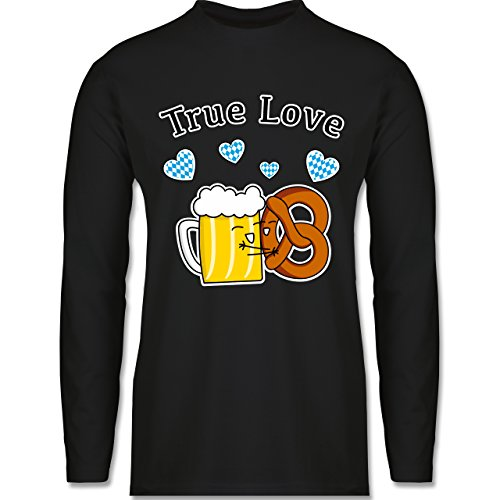 Oktoberfest Herren - True Love- Bier und Breze - Longsleeve / langärmeliges T-Shirt für Herren Schwarz