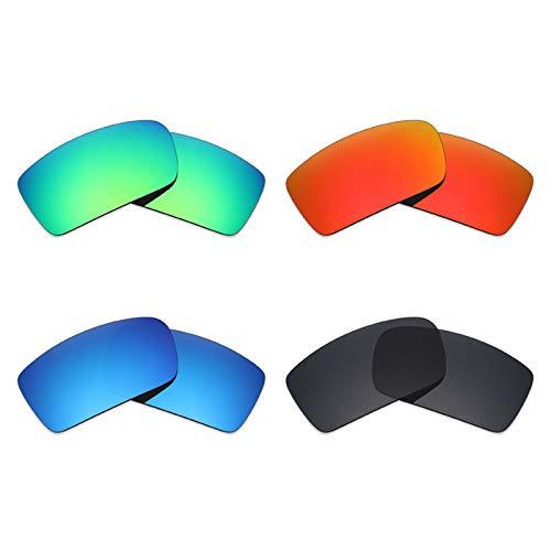 Mryok polarisierte Ersatzgläser für Oakley Gascan Sonnenbrille - Stealth Black/Fire Red/Ice Blue/Smaragdgrün, 4 Paar