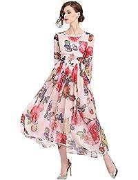 0276d3473b19 LAI MENG Swing Damen Sommer 3 4 arm Rosa Maxikleid mit Blumenmuster  Strandkleid A-
