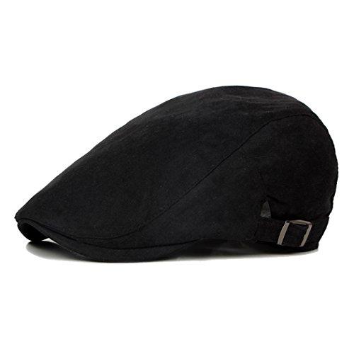 Anshili Homme Femmes Chapeau Coton Bérets Noir