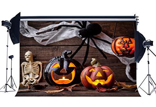 BuEnn Happy Halloween Backdrop 9X6FT Vinyl Schädel Scary HLack Spinne Kulissen Kürbislampen Gloomy Wood Floor Hallowmas Fotografie Hintergrund Kinder Erwachsene Maskerade Fotostudio Requisiten YX832