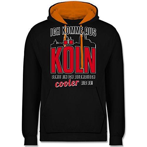 Städte - Ich komme aus Köln - Kontrast Hoodie Schwarz/Orange