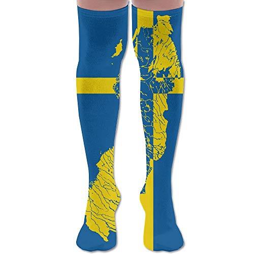 Xdevrbk Sweden Flag Map Colors Comfortable Elastic Knee High Socks - Farbton Damen Socken Jeans