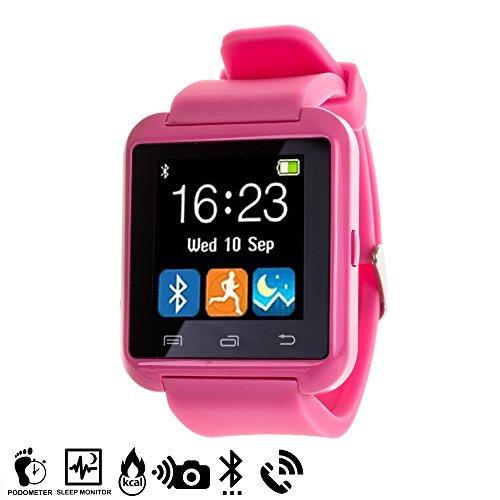 """DAM - Smartwatch Multifunción Bluetooth Rosa, envío y recepción de llamadas, marcador, notificación de aplicaciones (dos App disponibles para Android: """"btnotification"""" (Woo Parner) / """"FUNDO WEAR""""), podómetro, recordatorio de hidratación, anti pérdida, alarmas, calendario, recordatorio de hidratación. Batería de 230mAh de hasta 160 horas de duración (modo reposo)."""