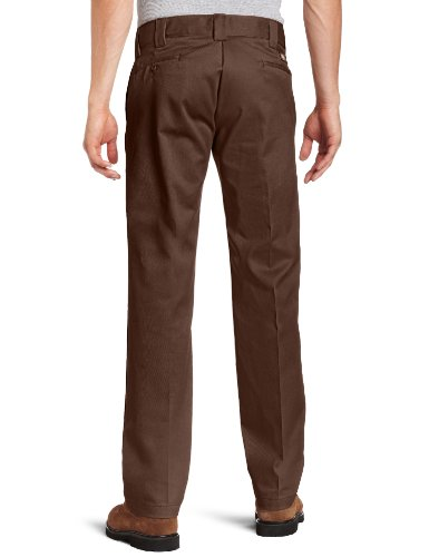 Dickies Men's Straight Work Slim Trousers, Rinsed Chocolate Brown – 30W x 32L